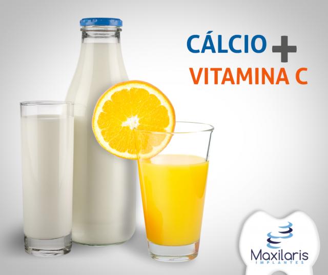 Vitamina C e Cálcio para saúde oral